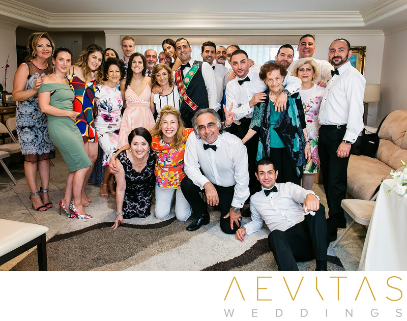 Groom with family at Armenian getting ready party