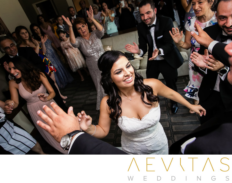 Creative photo of bride dancing at Armenian wedding
