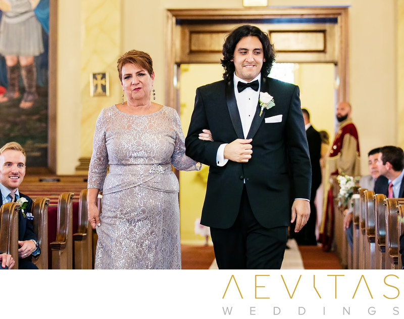 Brother and mom arrive at Armenian wedding ceremony