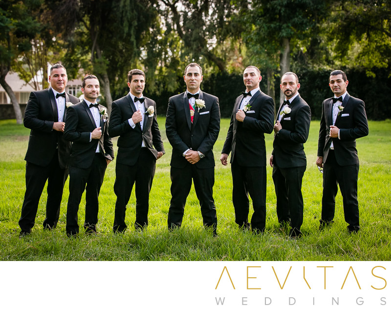 Groom with groomsmen portrait in Brand Park, Glendale