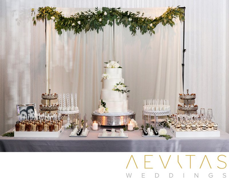 Wedding cake and dessert table at Vertigo in Glendale