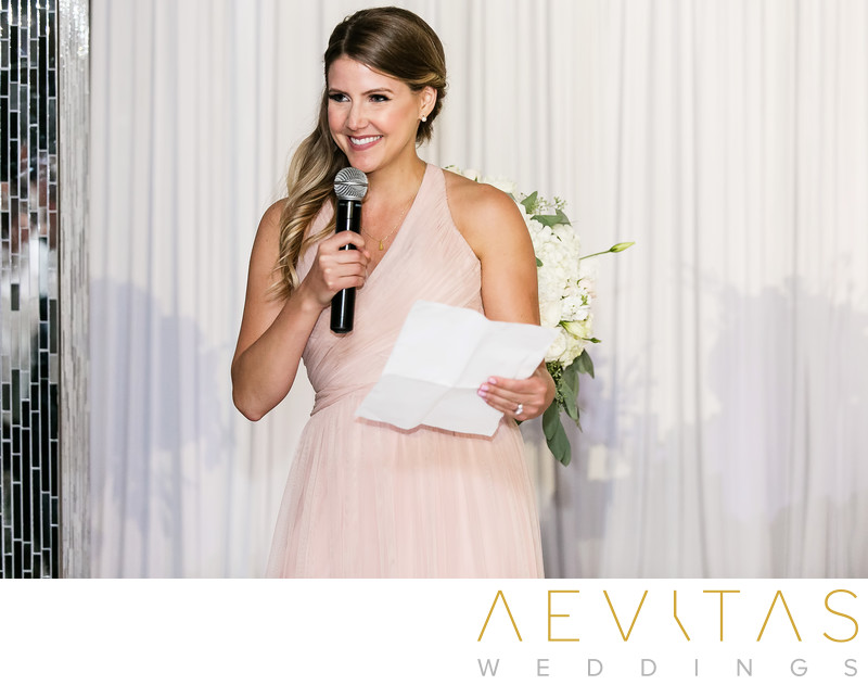 Maid-of-honor speech at Vertigo Event Venue wedding