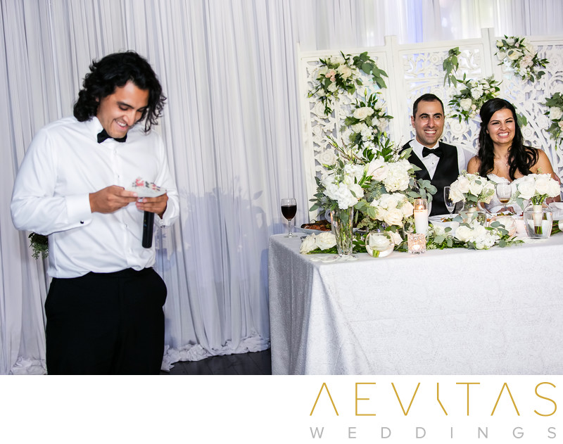 Brother speech with couple at sweetheart table in LA