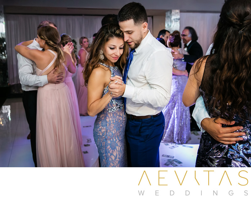 Couple slow dancing at Vertigo Event Venue reception