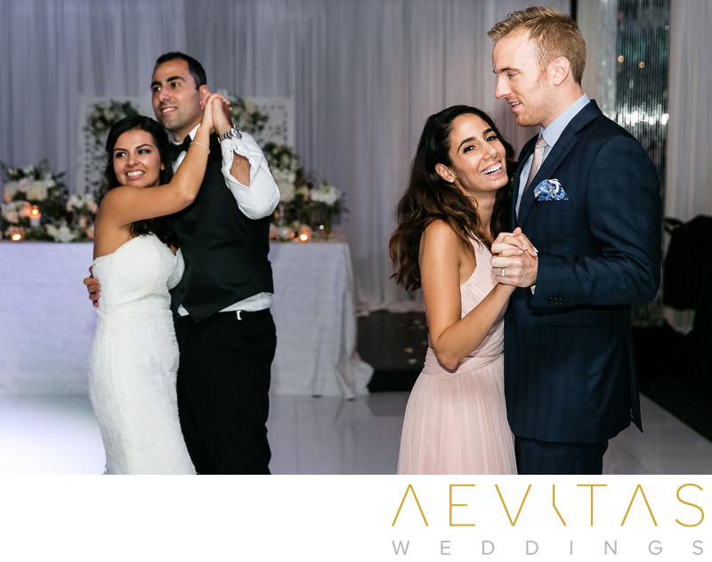 Couple dancing with bridesmaid and partner in Glendale