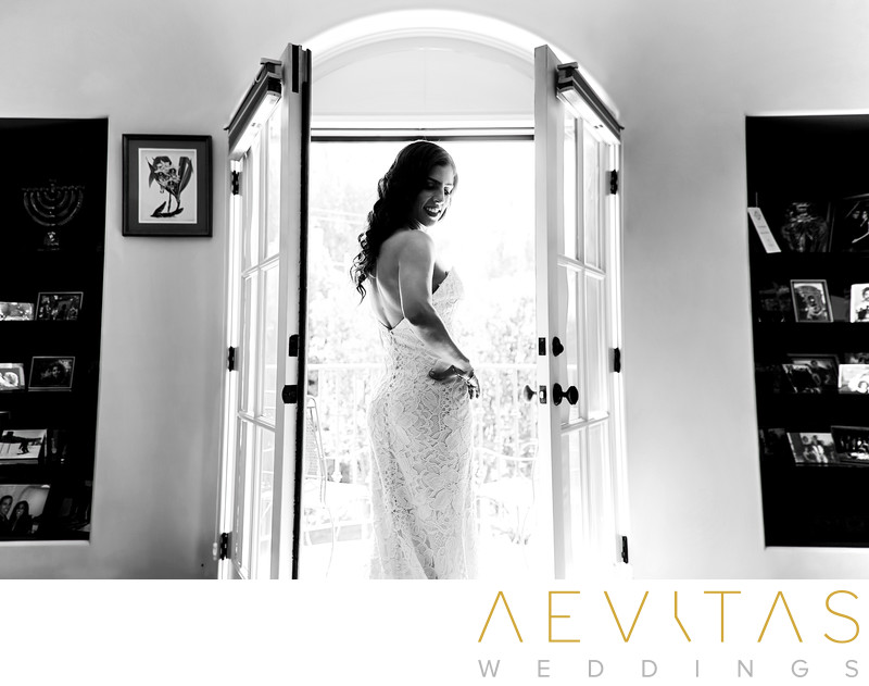 Black and white bride portrait with French doors