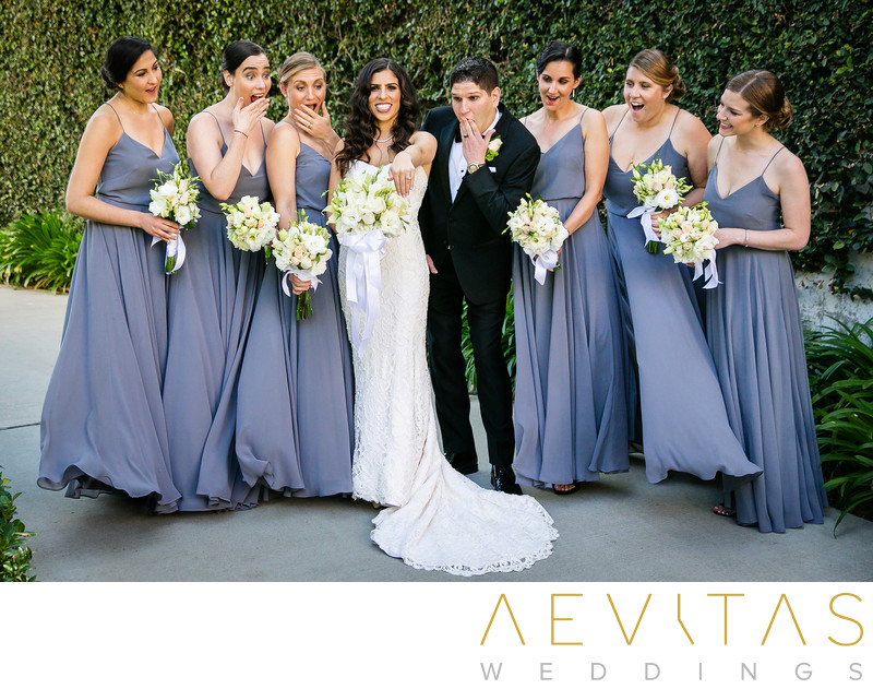 Playful bridal party portrait at Skirball in LA