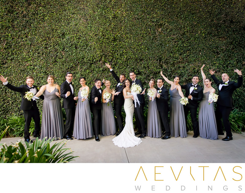 Bridal party portrait at Skirball Cultural Center