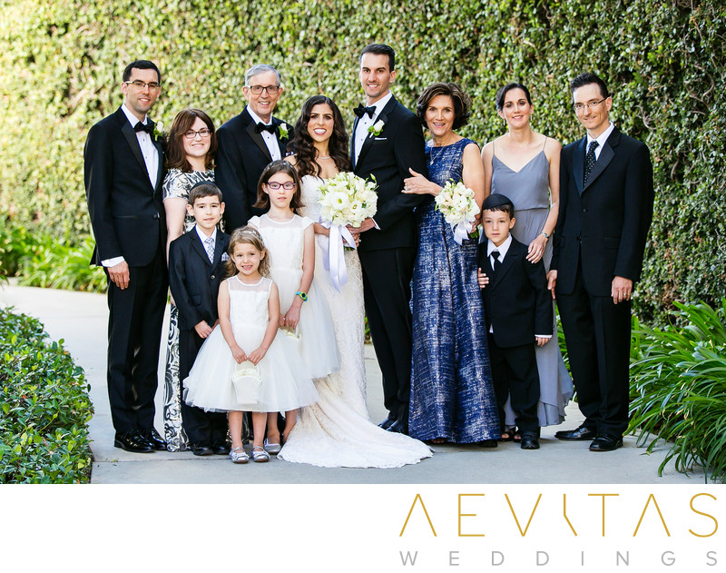 Couple with groom's family at Skirball Cultural Center