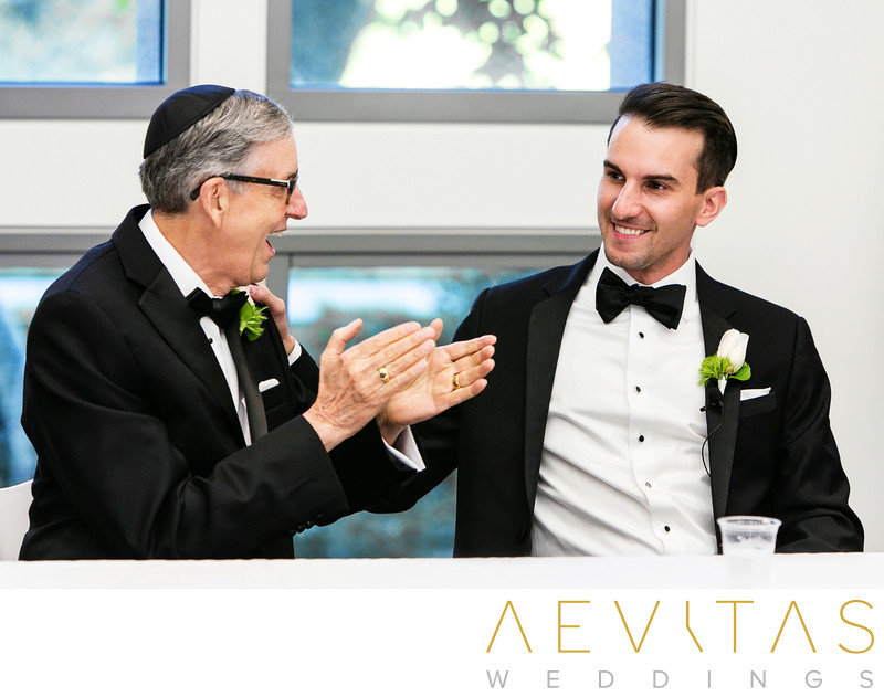 Groom with father at Jewish Tish in Los Angeles