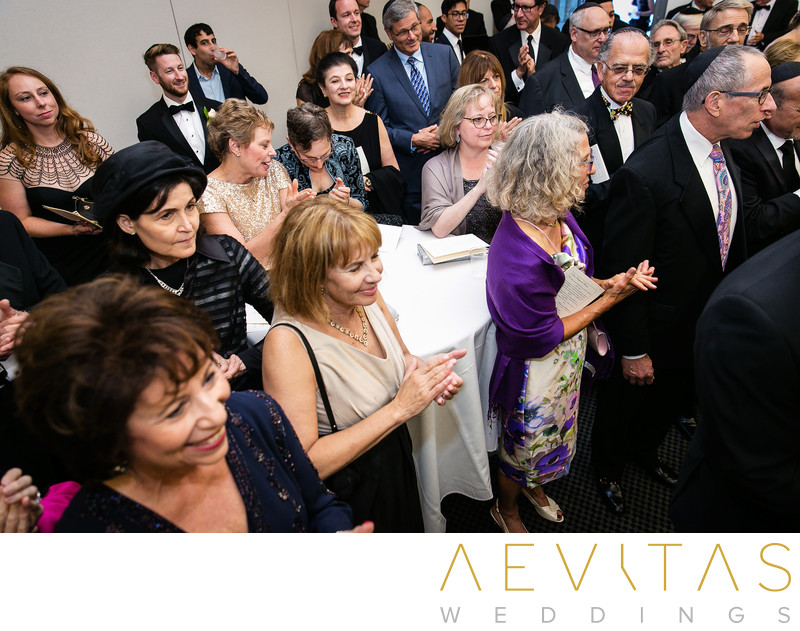 Creative photo of wedding guests at Jewish Bedeken, LA