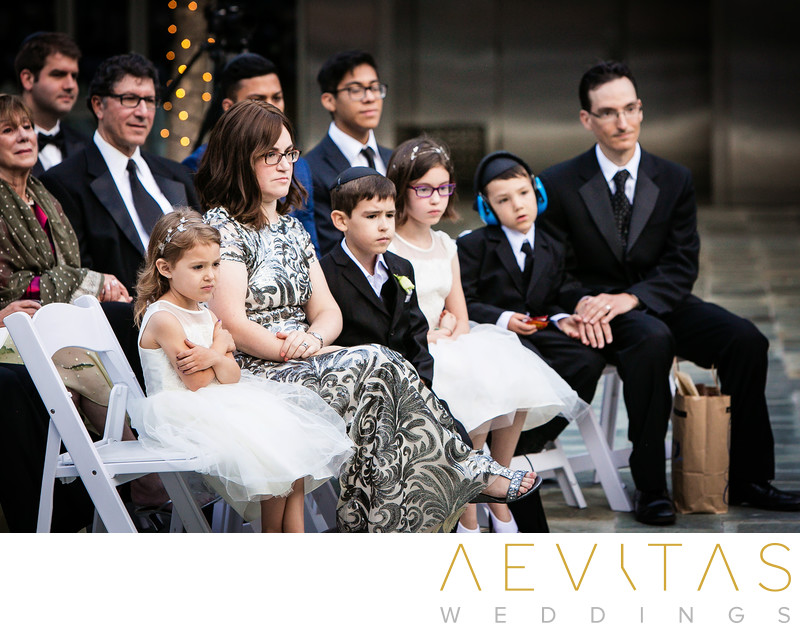 Young wedding guests at Skirball Jewish wedding in LA