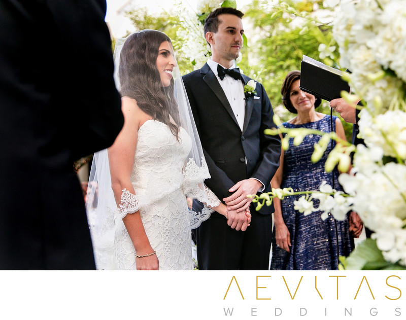 Creative photo of couple at Skirball wedding ceremony