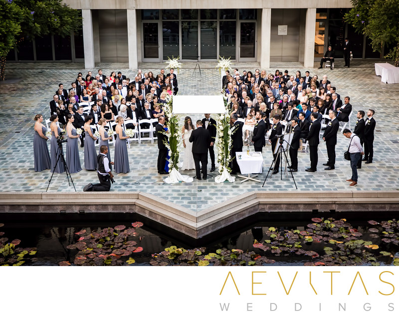 Creative photo of wedding ceremony at Skirball in LA