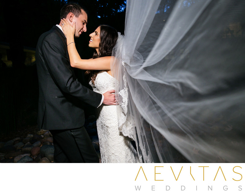 Couple portrait with sweeping veil at Skirball