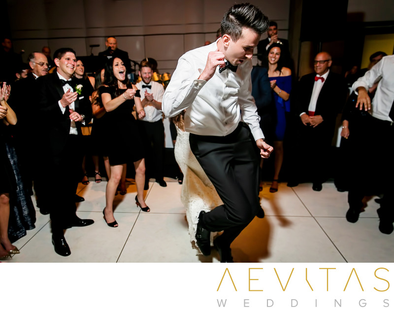 Groom dancing at Skirball Jewish wedding reception