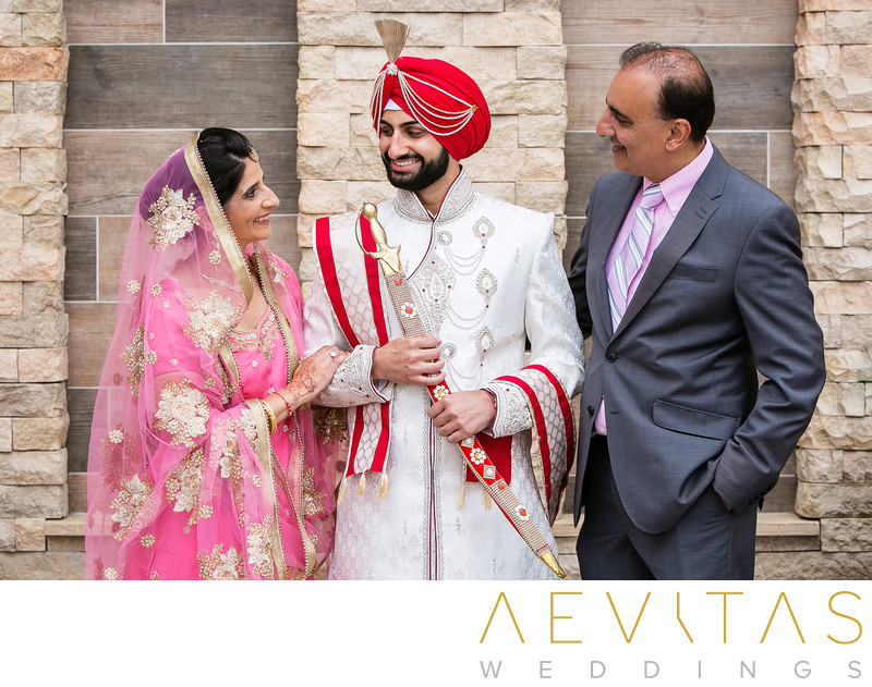 Sikh groom with parents at Pasea Hotel and Spa