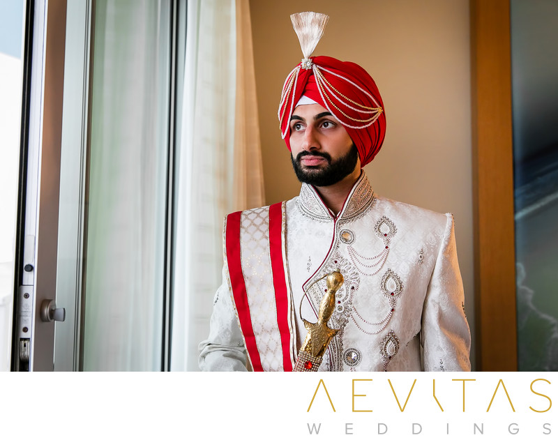 Groom portrait by Indian wedding photographer in LA
