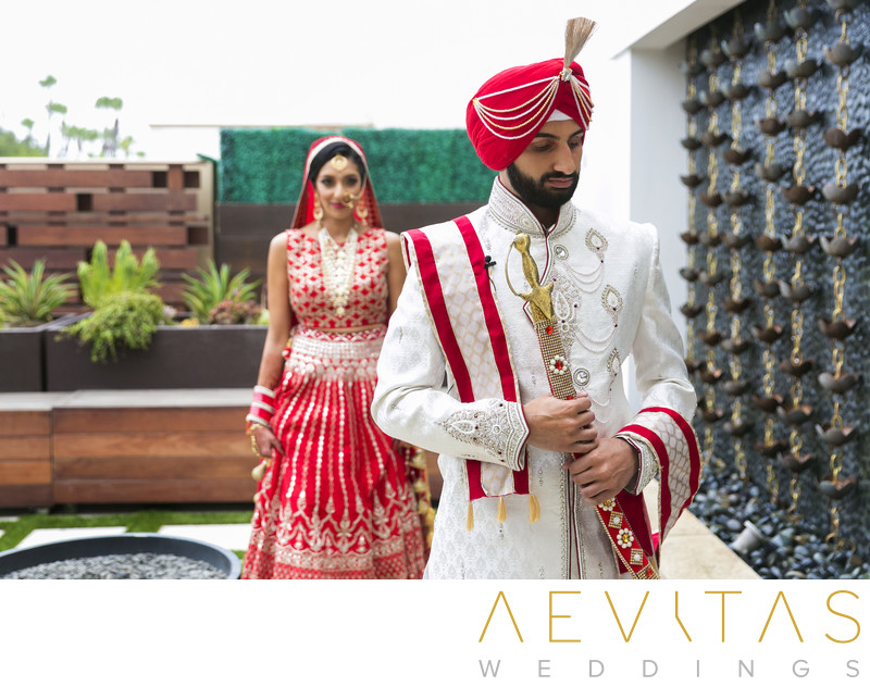 Indian wedding first look at Pasea Hotel and Spa