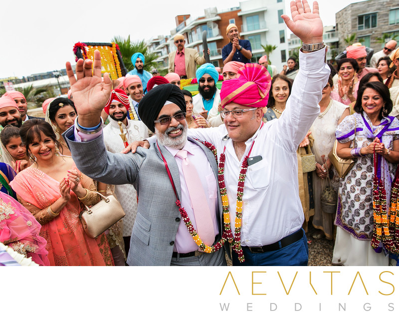 Men celebrate at Sikh wedding ceremony in Los Angeles