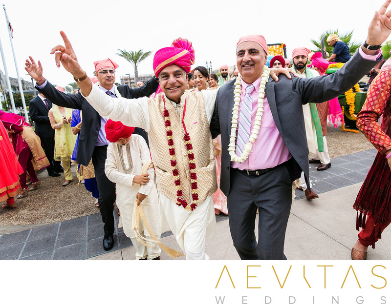 Fathers lead Indian wedding procession at Pasea Hotel
