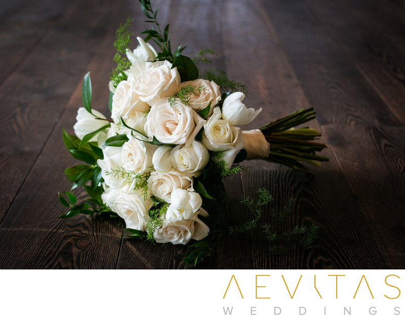 White floral bouquet by LA wedding photographer