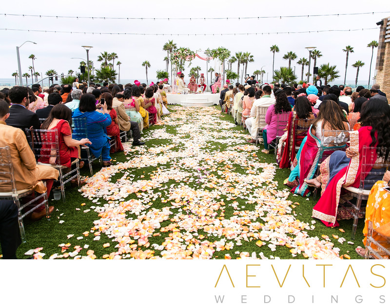 Flower petals on aisle at Hindu wedding ceremonyh