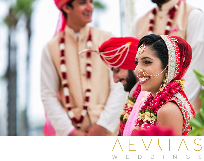 Bride smiling at Hindu wedding in Huntington Beach