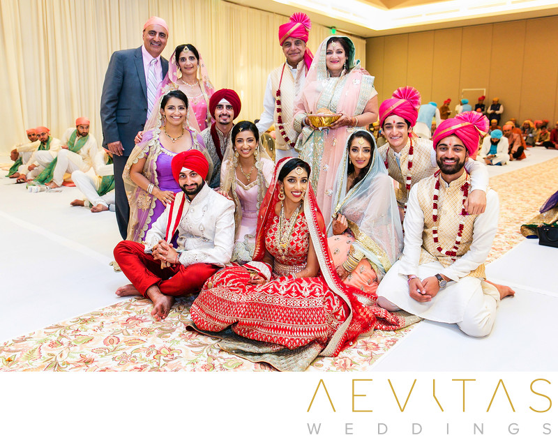 Family formal at Sikh wedding in Southern California