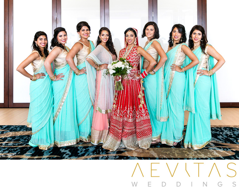 Indian bride with bridesmaids at Pasea Hotel and Spa