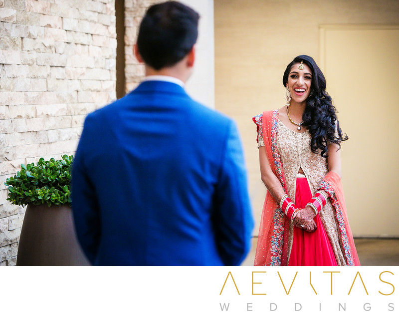 Bride reaction at Pasea Hotel first look session