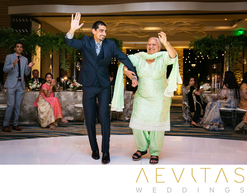 Grandma grand entrance at Indian wedding reception