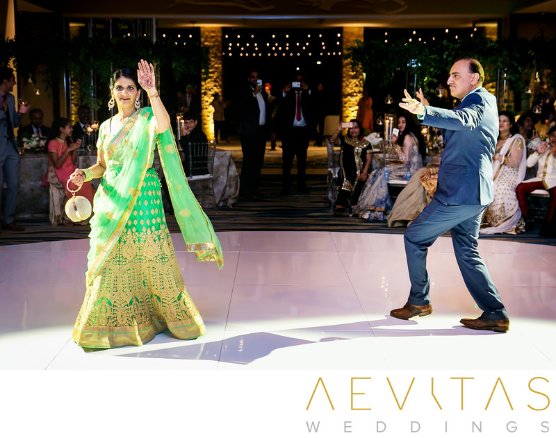 Parents' grand entrance at Indian wedding reception