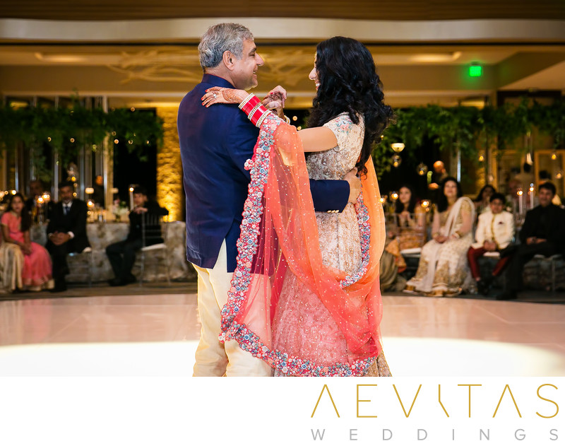 Father-daughter dance at Indian wedding reception