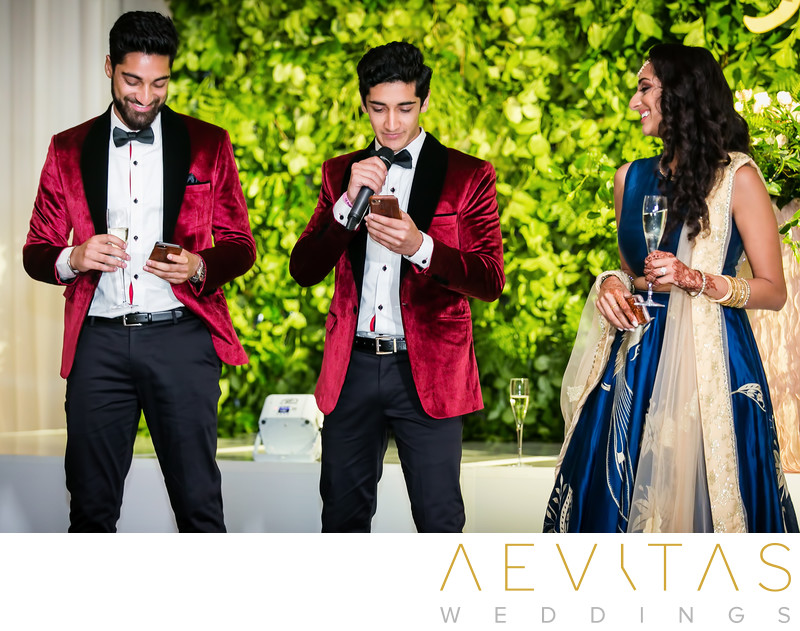 Siblings make speech at Indian wedding reception