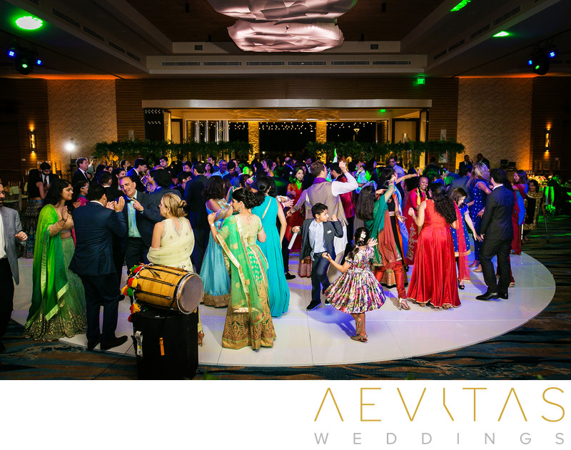 Wide-angle views of dance floor at Pasea Hotel wedding