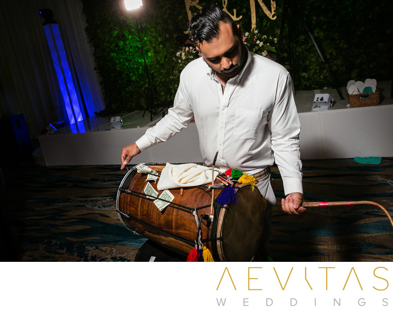 Indian drummer at Pasea Hotel and Spa wedding reception