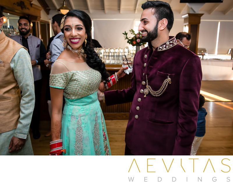 Bride and groom at Indian Sangeet in Newport Beach