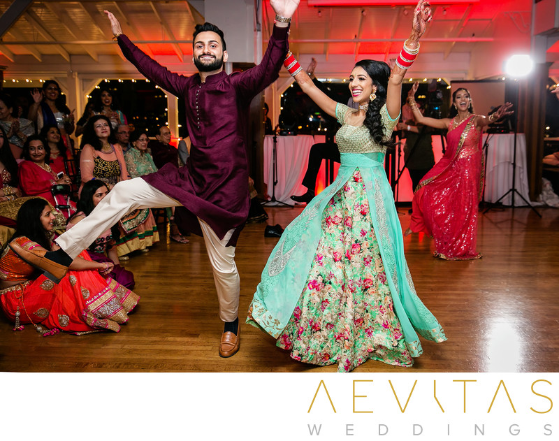 Bride and groom dancing at Newport Beach Sangeet
