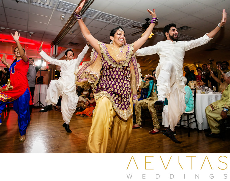 Action shot of Sangeet party in Newport Beach