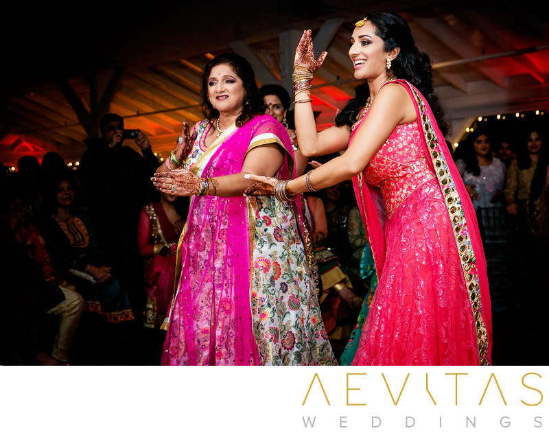 Indian women dancing at Newport Beach wedding party
