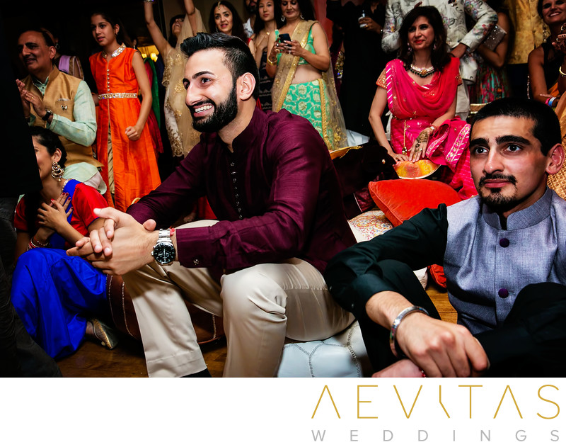 Groom reaction while bride dances at Indian wedding