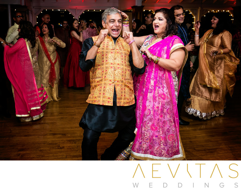 Parents dancing at Indian Sangeet in Newport Beach