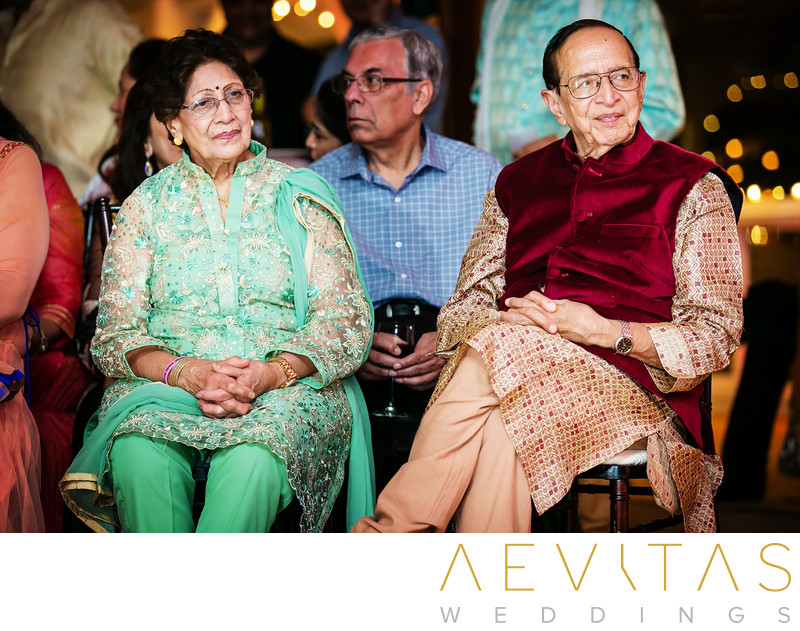 Grandparents listening to music at Indian Sangeet