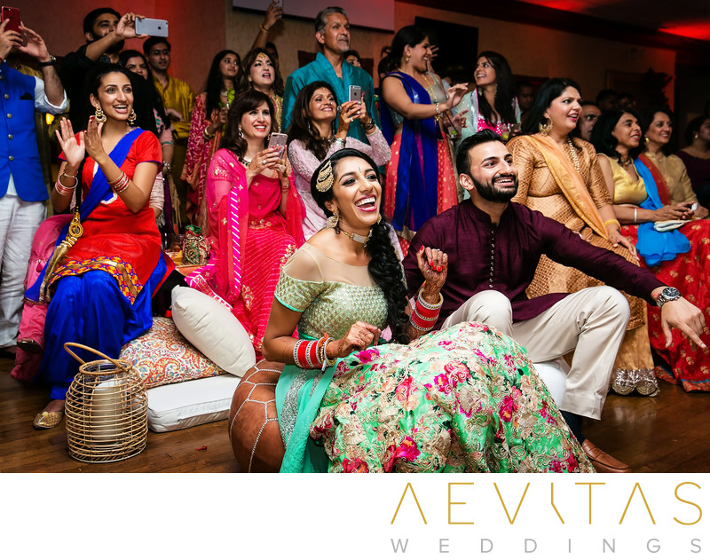 Couple and guests at Indian Sangeet, Newport Beach