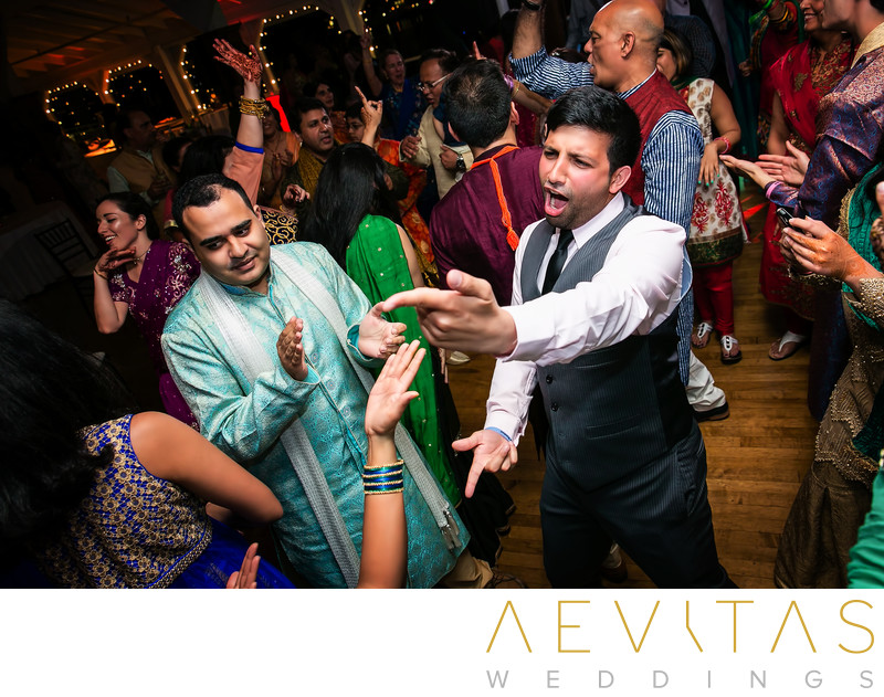 Fun wedding guest photo at Indian Sangeet party