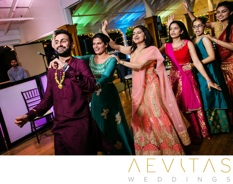 Groom leads conga line at Indian Sangeet party