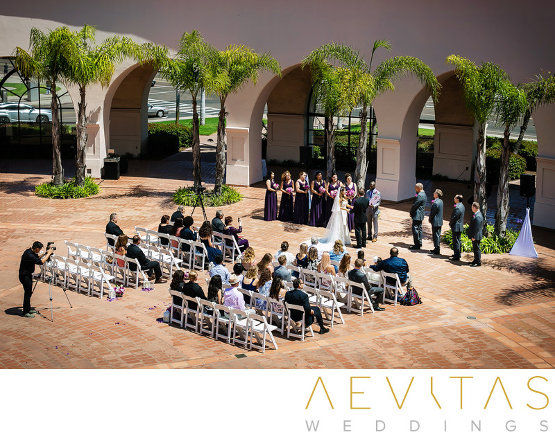 Elevated view of Fess Parker DoubleTree Resort wedding