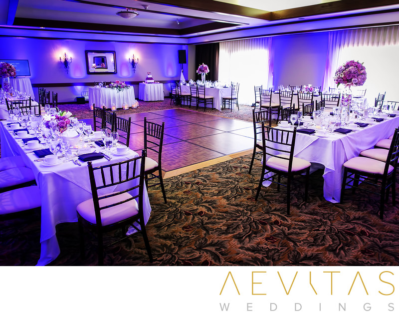Intimate ballroom reception details in Santa Barbara