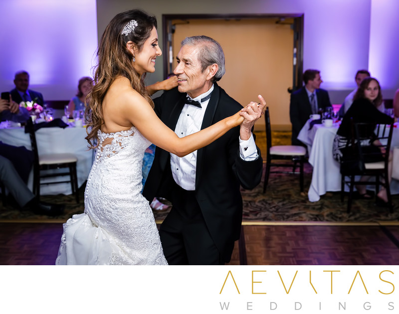 Father-daughter dance at Fess Parker wedding reception